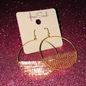 NWT Free Soul Beaded Gold Hoop Earrings